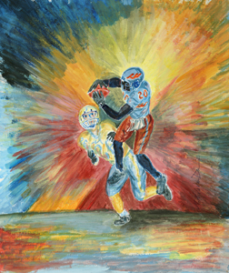 """The Catch"" football art by M. Nicole van Dam"